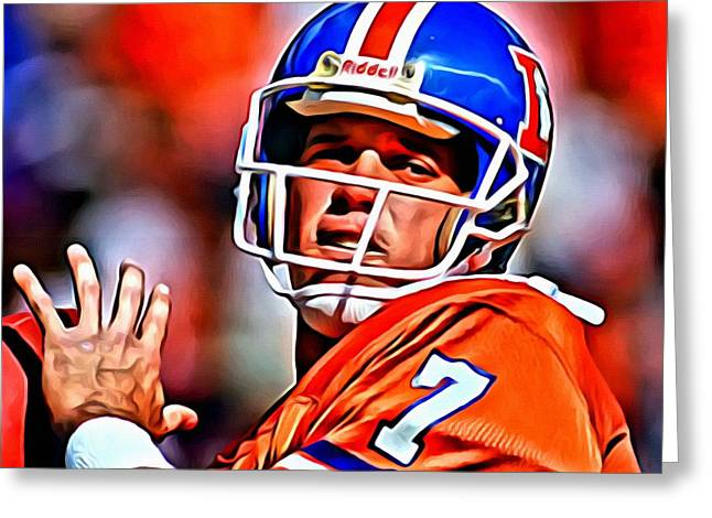 Greeting Card featuring the painting John Elway by Florian Rodarte