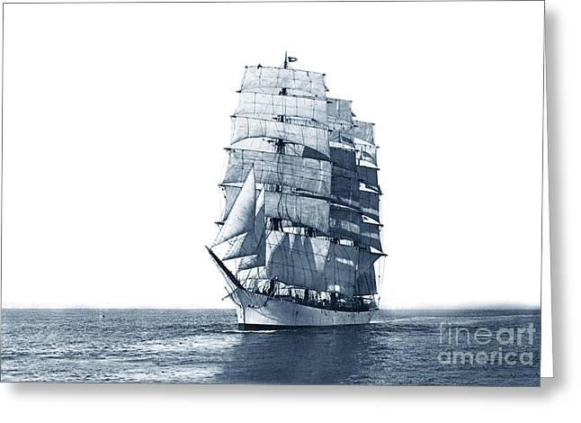John Ena 4 Masted Square Rigger Ship Bark Built In 1892 Circa 1900 Greeting Card