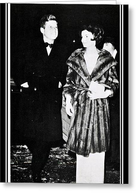 John F Kennedy And Jacqueline Attending First Dinner Greeting Card by Audreen Gieger-Hawkins