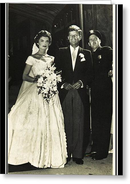 John F Kennedy And Jacqueline On Wedding Day Greeting Card