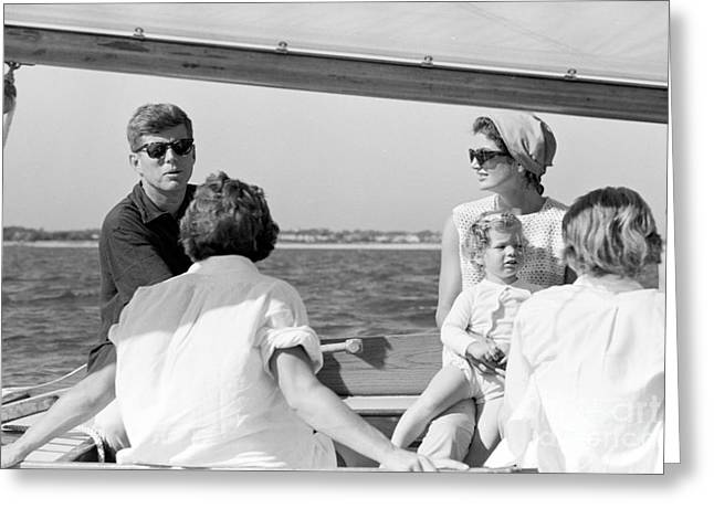 John F. Kennedy And Jacqueline Sailing Off Hyannis Port Greeting Card
