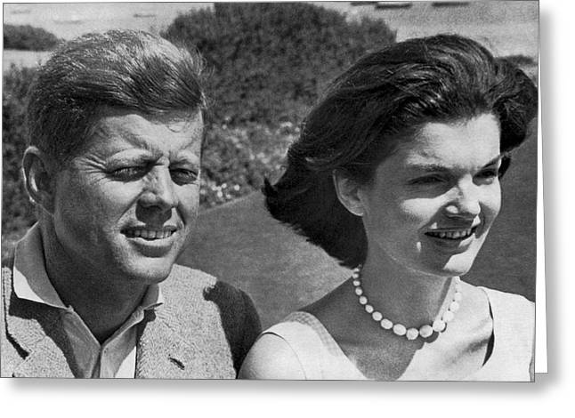 John F. Kennedy And Jacqueline Greeting Card by Underwood Archives