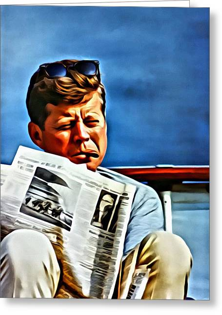Greeting Card featuring the painting John F Kennedy by Florian Rodarte