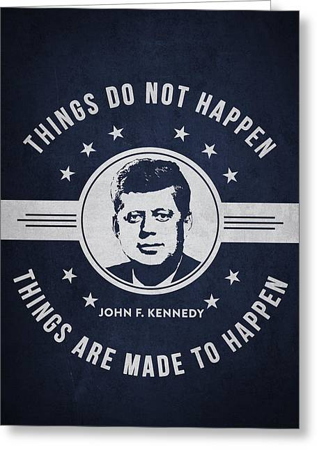 John F Kennedy - Navy Blue Greeting Card by Aged Pixel