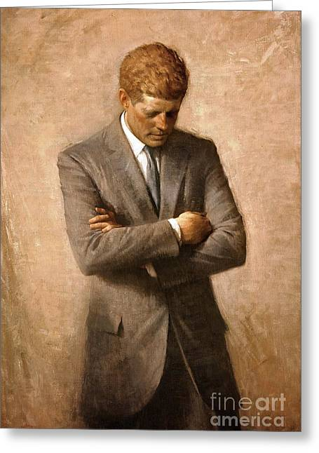 John F Kennedy - Official Portrait Greeting Card by Pg Reproductions