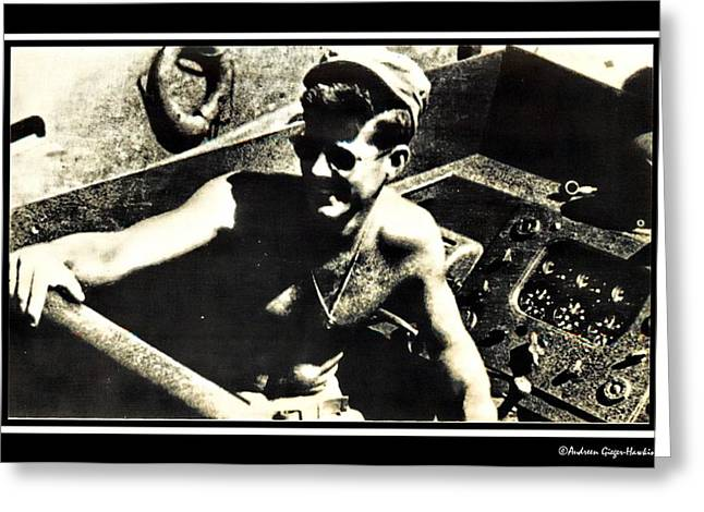 John F Kennedy On Pt 109 Greeting Card by Audreen Gieger