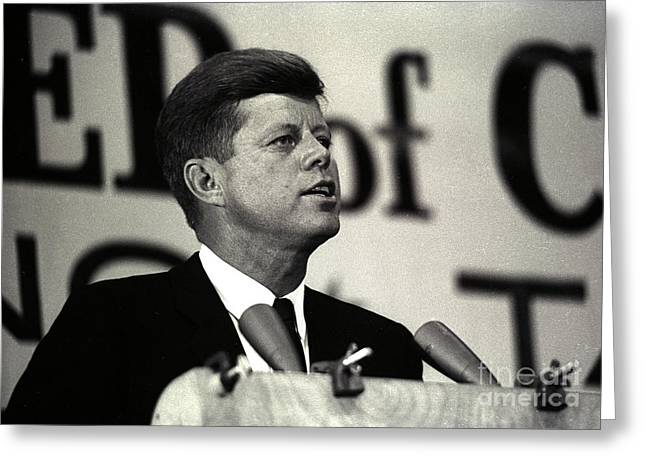 John F. Kennedy Speaking, 1963 Greeting Card by Larry Mulvehill