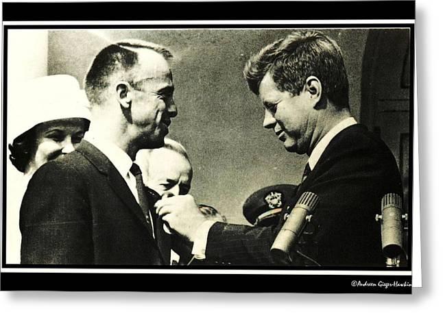 John F Kennedy With Astronaut Alan B Shepard Jr Greeting Card