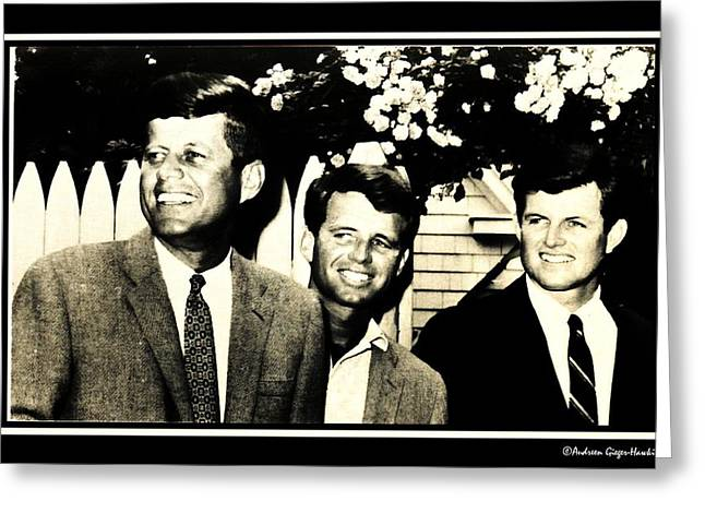 John F Kennedy With Brothers Greeting Card by Audreen Gieger-Hawkins