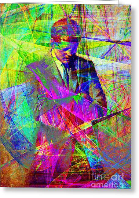 John Fitzgerald Kennedy Jfk In Abstract 20130610 Greeting Card by Wingsdomain Art and Photography