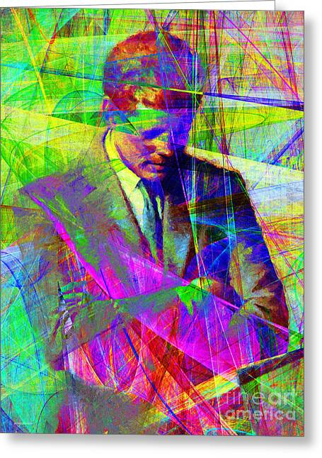 John Fitzgerald Kennedy Jfk In Abstract 20130610v2 Greeting Card by Wingsdomain Art and Photography