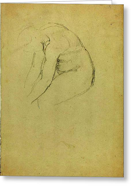 John Flaxman British, 1755 - 1826, Seated Figure Bending Greeting Card