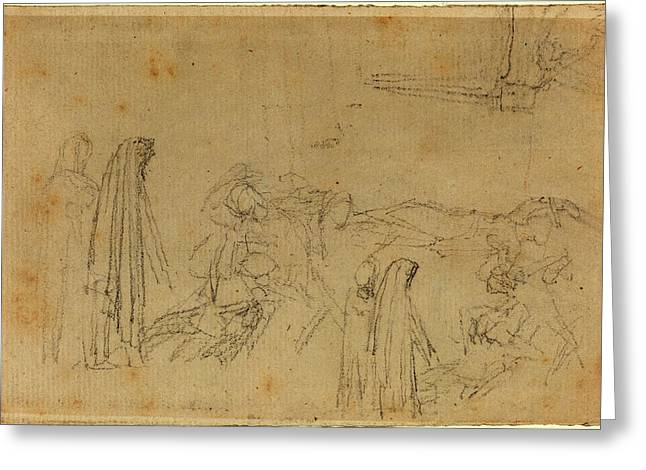 John Flaxman, British 1755-1826, Sketches With A Hooded Greeting Card by Litz Collection