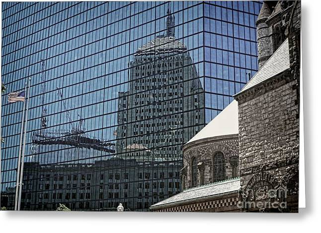 John Hancock - A Century Of Self-reflection - Boston Architecture Greeting Card by Julia Springer