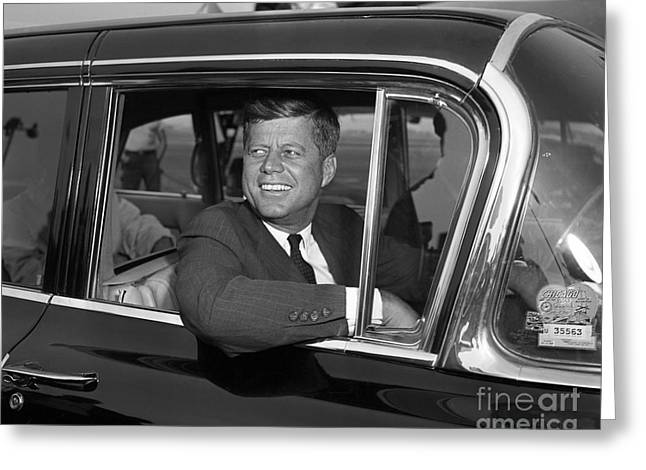 Greeting Card featuring the photograph John Kennedy 1960 by Martin Konopacki Restoration