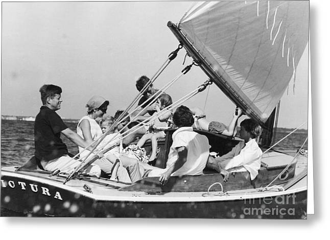 John Kennedy With Robert And Jacqueline Sailing Greeting Card