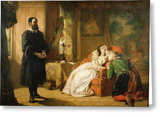 John Knox Reproving Mary, Queen Greeting Card by William Powell Frith