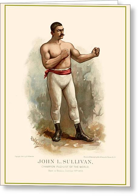 John L. Sullivan Boxer Greeting Card by Gary Grayson