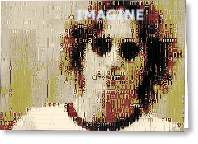 John Lennon Imagine Typography Greeting Card by Dan Sproul