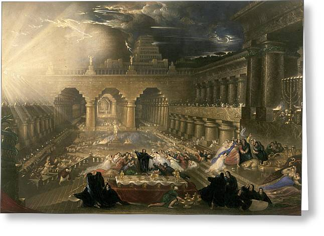 John Martin, Belshazzars Feast, British Greeting Card by Quint Lox