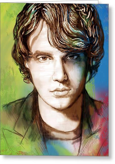 John Mayer Stylised Pop Art Drawing Potrait Poser Greeting Card