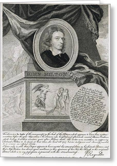 John Milton, English Poet Greeting Card by Folger Shakespeare Library