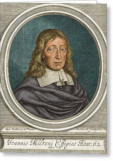 John Milton, English Poet Greeting Card by Science Source