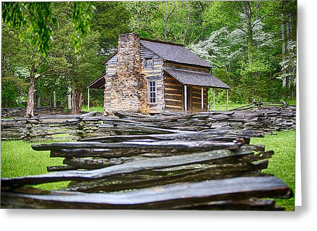John Oliver Cabin In Cades Cove Greeting Card by John Haldane