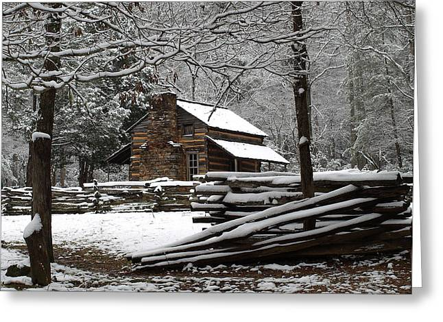 John Oliver Cabin In The Snow Greeting Card