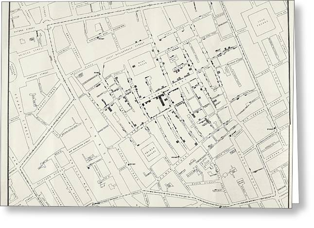 John Snow's Cholera Map Greeting Card by British Library