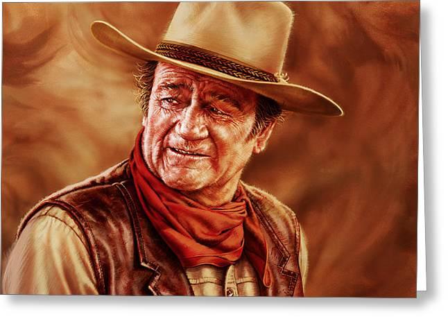 John Wayne Greeting Card by Dick Bobnick