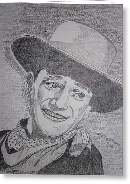 Greeting Card featuring the painting John Wayne by Kathy Marrs Chandler