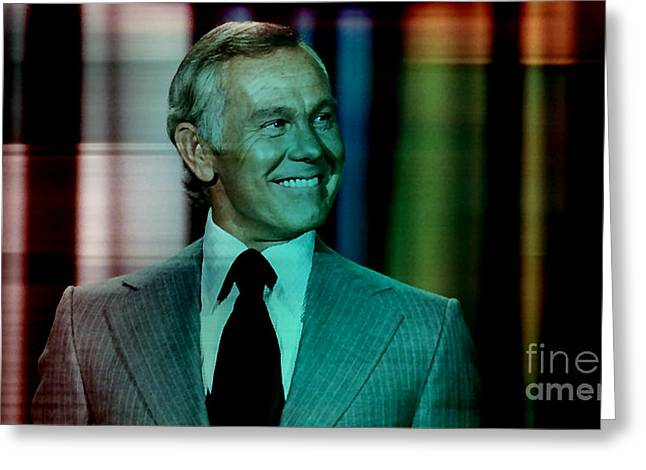 Johnny Carson Greeting Card by Marvin Blaine