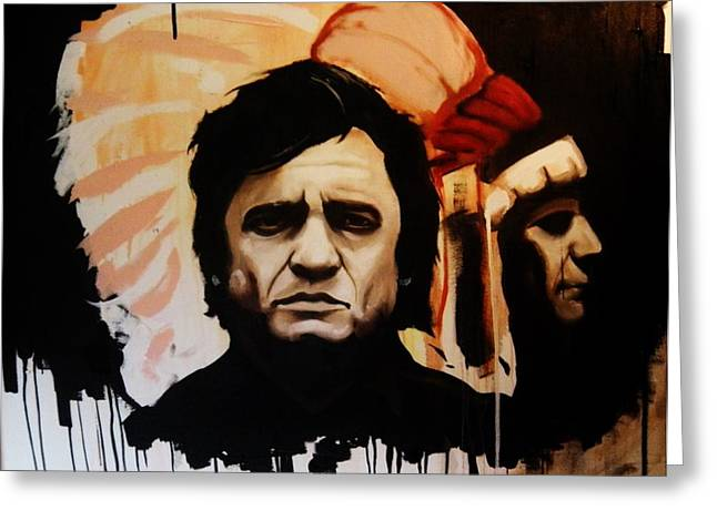 Johnny Cash And Indian Greeting Card