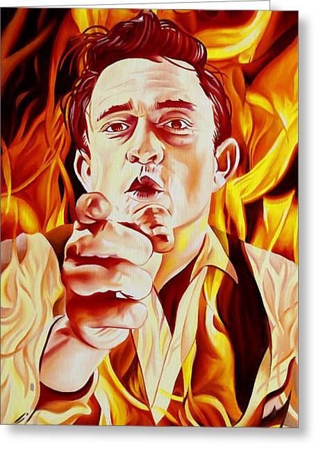 Johnny Cash And It Burns Greeting Card