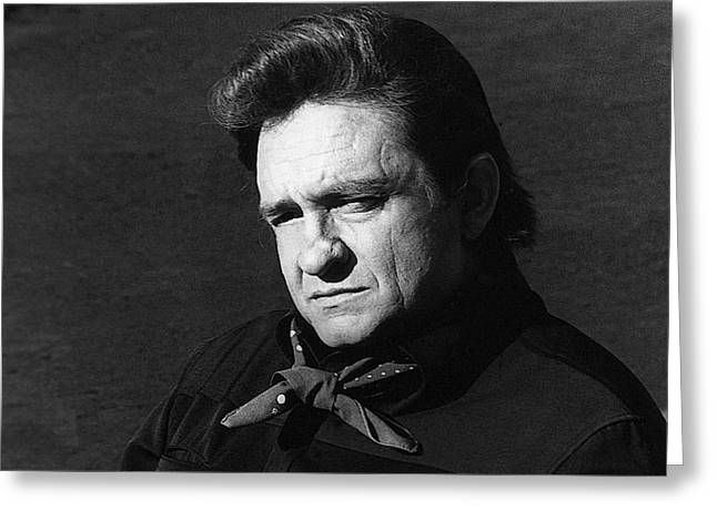 Greeting Card featuring the photograph Johnny Cash Close-up The Man Comes Around Music Homage Old Tucson Az  by David Lee Guss