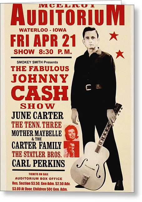 Johnny Cash Concert Poster Greeting Card by Bill Cannon