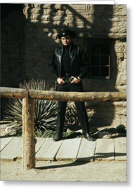 Greeting Card featuring the photograph Johnny Cash Gunfighter Hitching Post Old Tucson Arizona 1971 by David Lee Guss