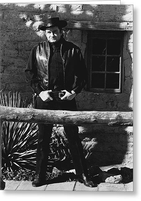 Greeting Card featuring the photograph Johnny Cash Gunslinger Hitching Post Old Tucson Arizona 1971  by David Lee Guss