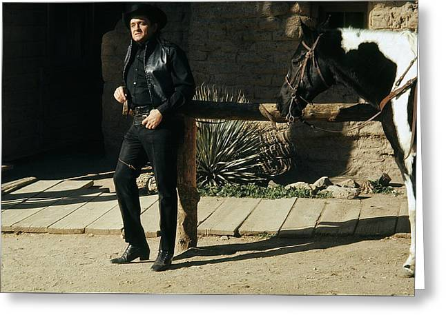 Greeting Card featuring the photograph Johnny Cash Horse Old Tucson Arizona 1971 by David Lee Guss