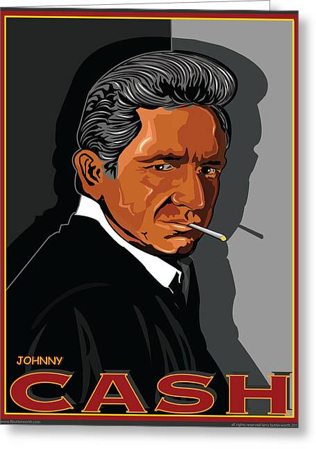 Johnny Cash Greeting Card by Larry Butterworth