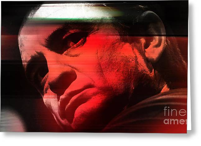 Johnny Cash Greeting Card by Marvin Blaine