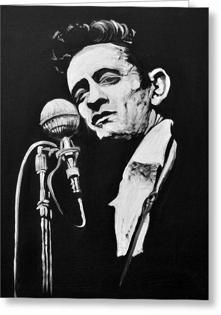 Johnny Cash Greeting Card by Melissa O'Brien