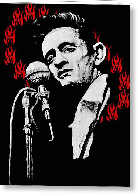 Johnny Cash Ring Of Fire Greeting Card