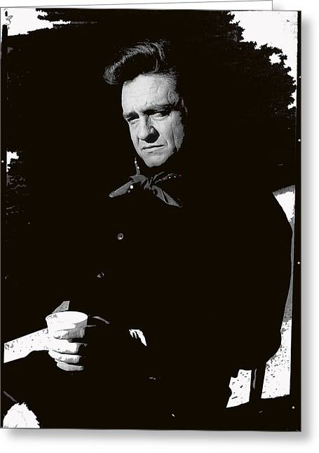 Greeting Card featuring the photograph Johnny Cash Sitting With Cup  Old Tucson Arizona 1971-2009 by David Lee Guss
