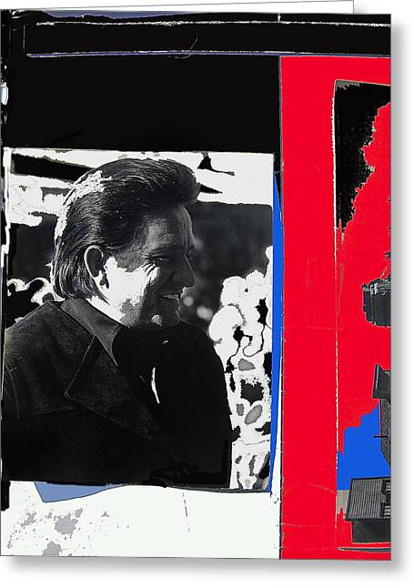 Greeting Card featuring the photograph Johnny Cash  Smiling Collage 1971-2008 by David Lee Guss