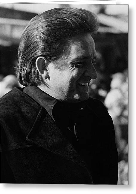 Greeting Card featuring the photograph Johnny Cash Smiling Old Tucson Arizona 1971 by David Lee Guss