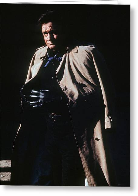 Greeting Card featuring the photograph Johnny Cash Trench Coat Old Tucson Arizona 1971 by David Lee Guss