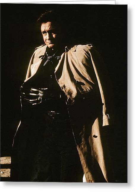 Greeting Card featuring the photograph Johnny Cash Trench Coat Variation  Old Tucson Arizona 1971 by David Lee Guss