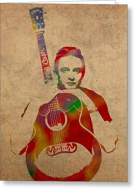 Johnny Cash Watercolor Portrait On Worn Distressed Canvas Greeting Card